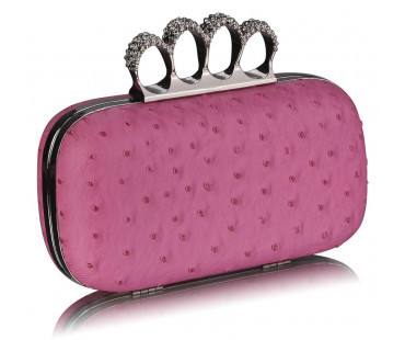 Psaníčko Pink Ostrich Skin Knuckle Clutch/Crossbody purse