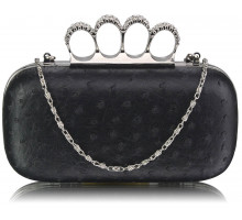 Psaníčko Black Ostrich Skin Knuckle Clutch purse