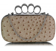 Psaníčko Nude Ostrich Skin Knuckle Clutch purse