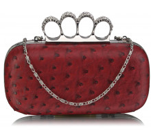 Psaníčko Red Ostrich Skin  Knuckle Clutch purse