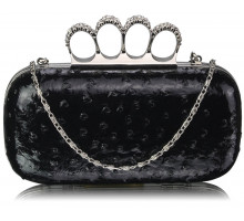 Psaníčko Black Ostrich Knuckle Rings Evening Bag - černé