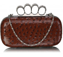 Psaníčko Coffee Ostrich Knuckle Rings Evening Bag
