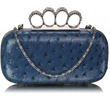 Psaníčko - Navy Ostrich  Knuckle Rings Evening Bag