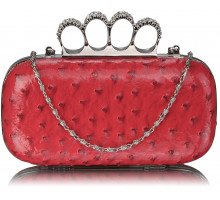 Psaníčko - Pink Ostrich  Knuckle Rings Evening Bag