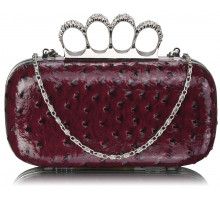Psaníčko - Purple Ostrich Knuckle Rings Evening Bag