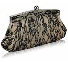 Psaníčko - Nude Floral Satin Lace Clutch Bag