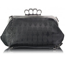 Psaníčko - Black  Sparkly Crystal Satin Evening Clutch