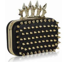 Psaníčko - Black / Gold Punk Spike Skull Ring Clutch Purse