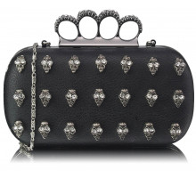 Psaníčko Black Knuckle Rings Clutch Purse - černé