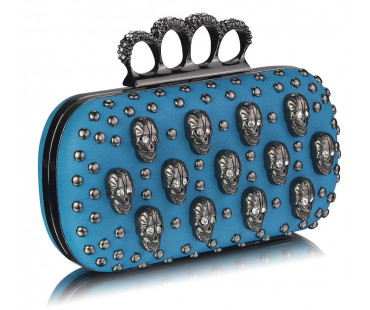 Psaníčko - Teal Knuckle Rings Clutch Purse