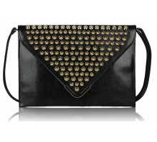 Psaníčko -  Black Large Slim Clutch Bag With Studded Flap
