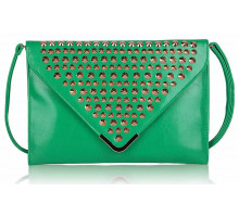 Psaníčko - Emerald Large Slim Clutch Bag With Studded Flap