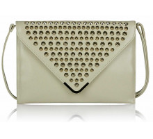 Psaníčko - Ivory Large Slim Clutch Bag With Studded Flap