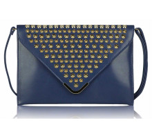 Psaníčko - Navy Large Slim Clutch Bag With Studded Flap