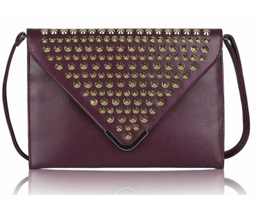 Psaníčko - Purple Large Slim Clutch Bag With Studded Flap