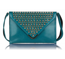 Psaníčko - Teal Large Slim Clutch Bag With Studded Flap