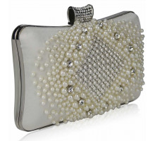 Psaníčko - Cream Beaded Pearl Rhinestone Clutch Bag