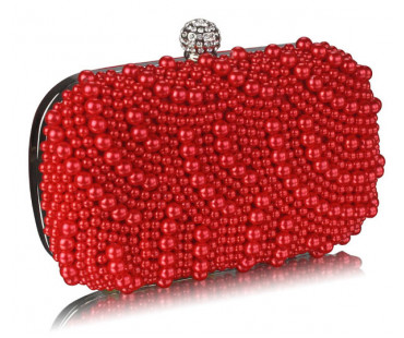 Psaníčko Red Beaded Pearl Rhinestone Clutch Bag