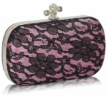 Psaníčko - Classy Pink Ladies Lace Evening Clutch Bag