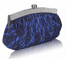 Psaníčko - Blue Floral Satin Lace Clutch Bag
