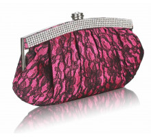 Psaníčko - Fuchsia Floral Satin Lace Clutch Bag