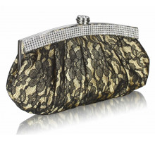 Psaníčko - Gold Floral Satin Lace Clutch Bag