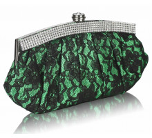 Psaníčko - Green Floral Satin Lace Clutch Bag