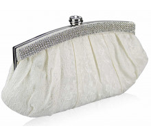 Psaníčko - Ivory Floral Satin Lace Clutch Bag