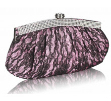 Psaníčko - Pink Floral Satin Lace Clutch Bag