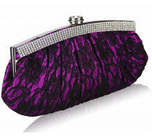 Psaníčko - Purple Floral Satin Lace Clutch Bag