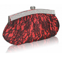 Psaníčko - Red Floral Satin Lace Clutch Bag