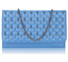 Psaníčko Blue Quilted Purse With Skull Stud Detail - modré