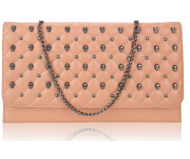 Psaníčko - Pink Quilted Purse With Skull Stud Detail