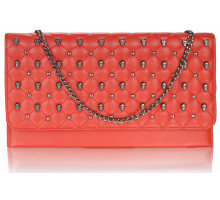 Psaníčko - Red Quilted Purse With Skull Stud Detail