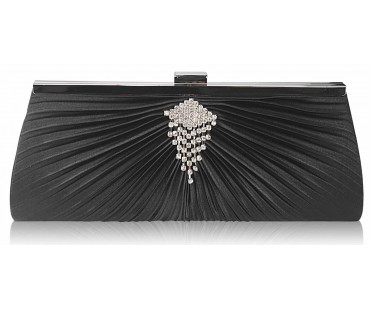 Psaníčko Black Satin Clutch Bag With Crystal Decoration
