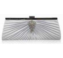 Psaníčko - Silver Satin Clutch Bag With Crystal Decoration