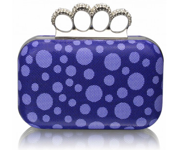 Psaníčko Blue Women's Knuckle Rings Clutch With Crystal Decoration