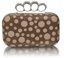 Psaníčko Brown Women's Knuckle Rings Clutch With Crystal Decoration