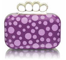 Psaníčko Purple Women's Knuckle Rings Clutch With Crystal Decoration