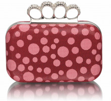 Psaníčko Red Women's Knuckle Rings Clutch With Crystal Decoration
