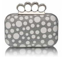 Psaníčko White Women's Knuckle Rings Clutch With Crystal Decoration
