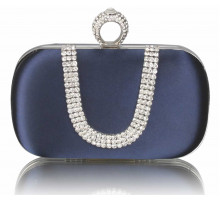 Psaníčko Navy Sparkly Crystal Satin Clutch purse - modré