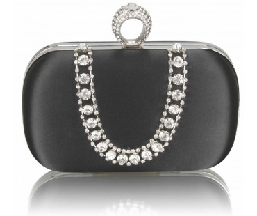Psaníčko Black Sparkly Crystal Satin Clutch purse