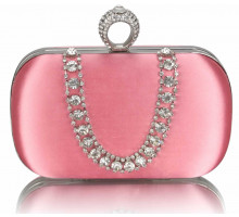 Psaníčko - Pink Sparkly Crystal Satin Clutch purse