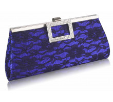 Psaníčko Blue Elegant Floral Satin Lace Clutch Bag - modré