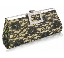 Psaníčko - Gold Elegant Floral Satin Lace Clutch Bag