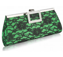 Psaníčko - Green Elegant Floral Satin Lace Clutch Bag
