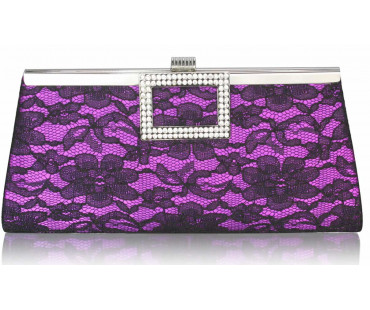 Psaníčko - Purple Elegant Floral Satin Lace Clutch Bag