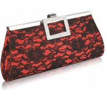 Psaníčko - Red Elegant Floral Satin Lace Clutch Bag