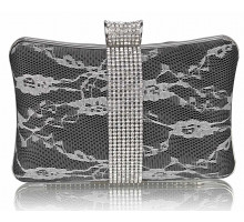 Psaníčko - Black Crystal Strip Clutch Evening Bag